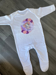 Beautiful elephant personalised sleepsuit