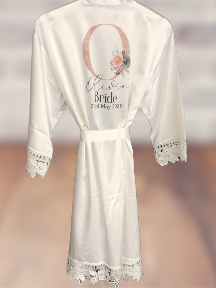 Wedding lace robes - rose gold initial