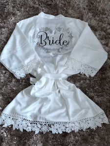 Personalised lace wedding robes
