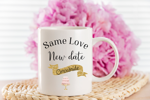 wedding mug - new date - postponed