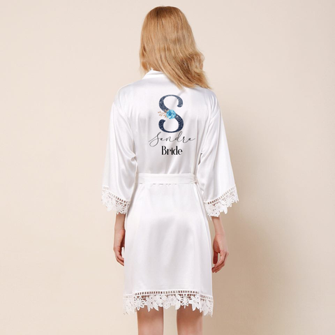 blue initial Wedding lace robe