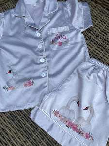 personalised Childrens Swan pyjamas