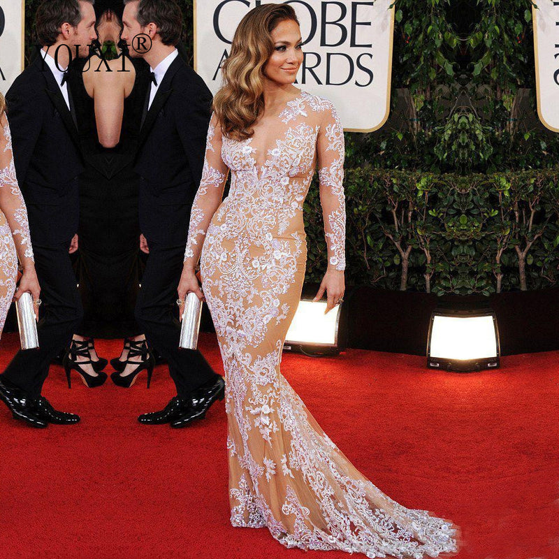 Jennifer Lopez Long Evening Dresses Tulle Appliqued Long Sleeve Sexy Mermaid Court Train Formal Evening Gowns Robe de Soiree