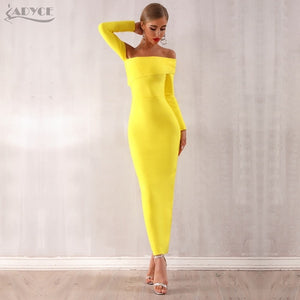 Adyce 2020 New Arrival Sexy Women Bandage Dress Long Sleeve Yellow Draped Off Shoulder Long Maxi Celebrity Evening Party Dresses