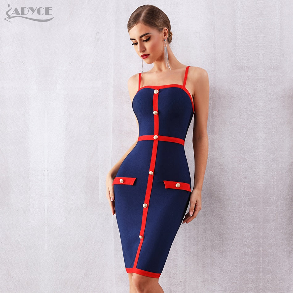 Adyce 2020 New Summer Blue Bodycon Bandage Dress Women Elegant Spaghetti Strap Night Club Celebrity Runway Party Dress Vestidos
