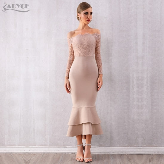 ADYCE Summer Women Off Shoulder Lace Bandage Dress Celebrity Party Dress Vestidos Sexy Long Sleeve Slash Neck Bodycon Club Dress