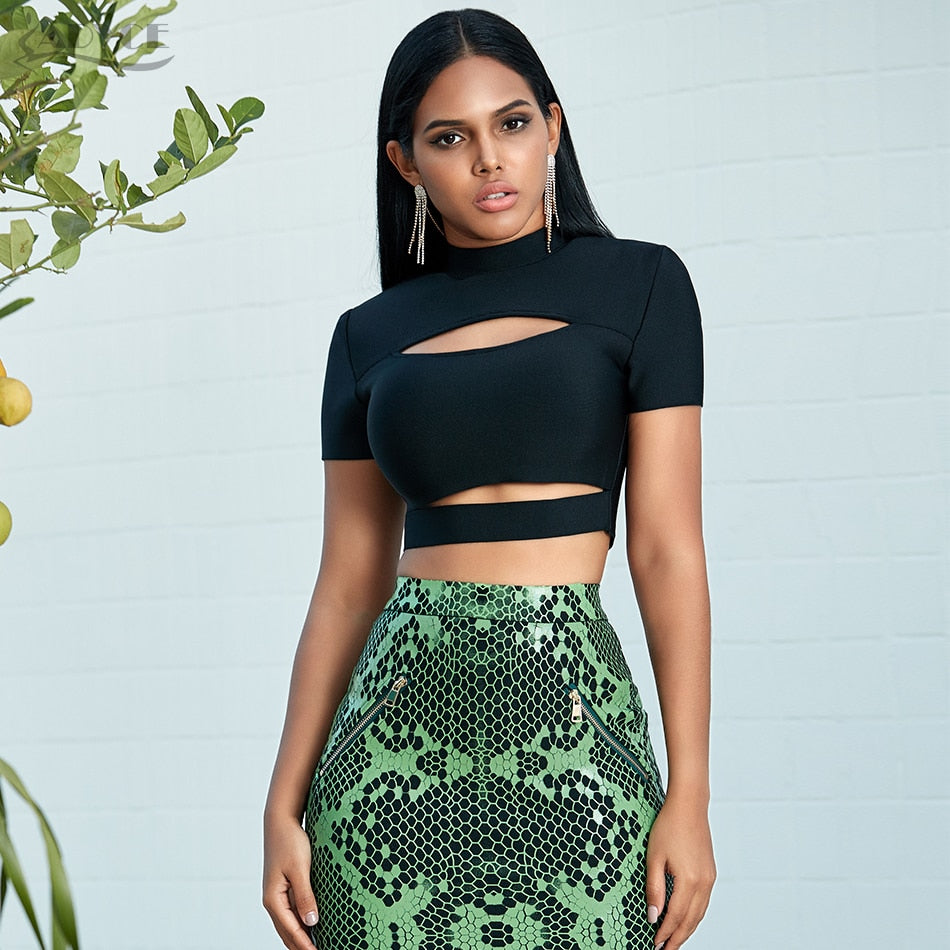 ADYCE 2020 New Women Hollow Out Bandage Top Solid Sports Blouses Sexy Tight Lady Short Sleeve Solid Green Black Tank Crop Tops