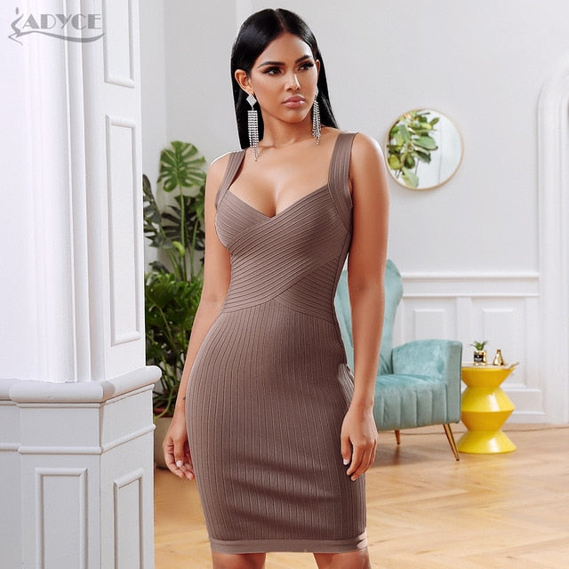 ADYCE 2020 New Summer Bandage Party Dress Women Sexy Sleeveless Spaghetti Strap Bodycon Midi Khaki Celebrity Evening Club Dress