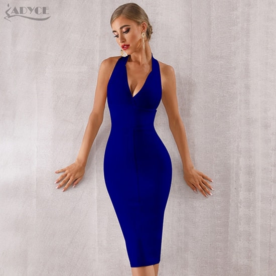 ADYCE 2020 New Summer Women Bodycon Bandage Dress Sexy Halter V Neck Backless Club Dress Vestidos Celebrity Evening Party Dress