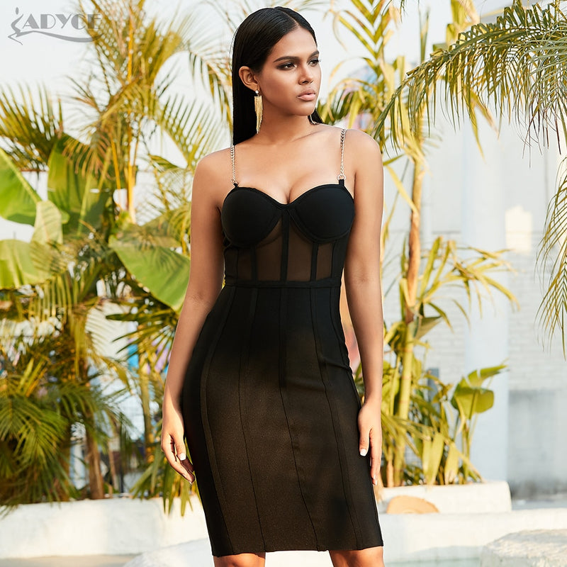 ADYCE 2020 New Summer Women Lace Bodycon Runway Bandage Dress Sexy Spaghetti Strap Celebrity Evening Party Club Dresses Vestidos