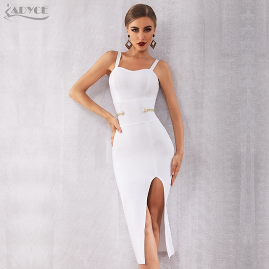 Adyce New Summer White Bandage Dress Women Elegant Celebrity Evening Party Dress Vestidos Sexy Spaghetti Strap Deep V Club Dress