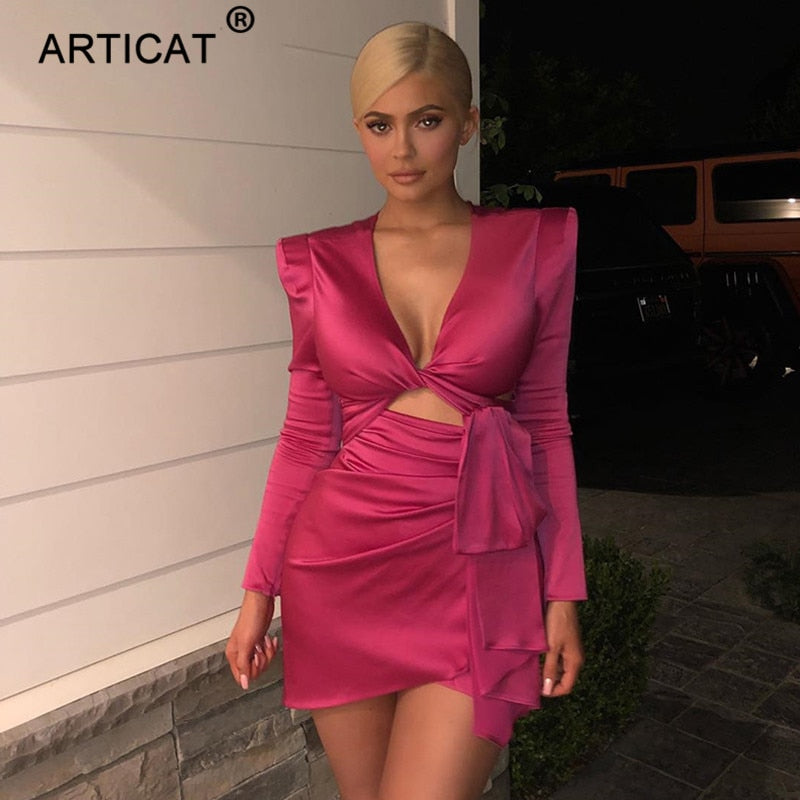 Articat Autumn Solid Sexy Women Party Dress Fashion Hollow Out Bodycon Bandage Mini Dress Kylie Jenner Nightclub Dress Vestidos