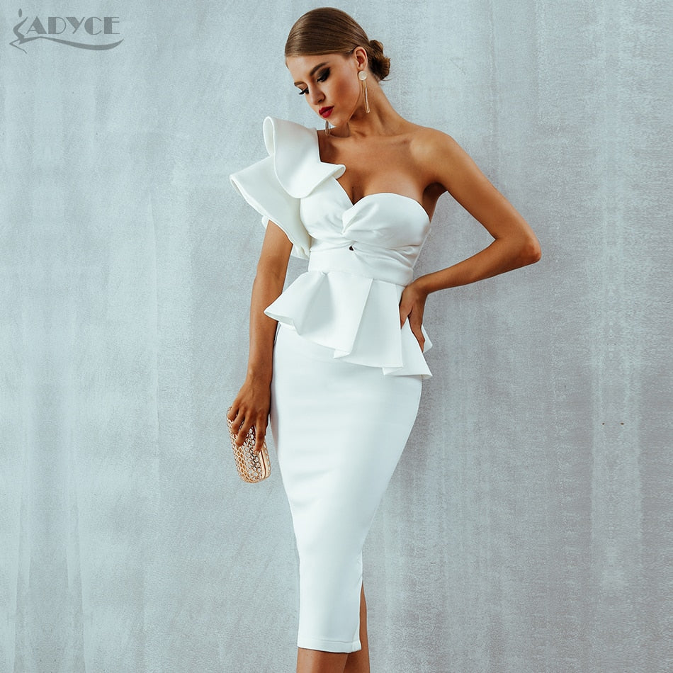 Adyce New Bow&Ruffles Mid Women Dress 2020 Set One Shoulder Short Sleeve Bodycon Strapless Celebrity Evening Party Dress Vestido