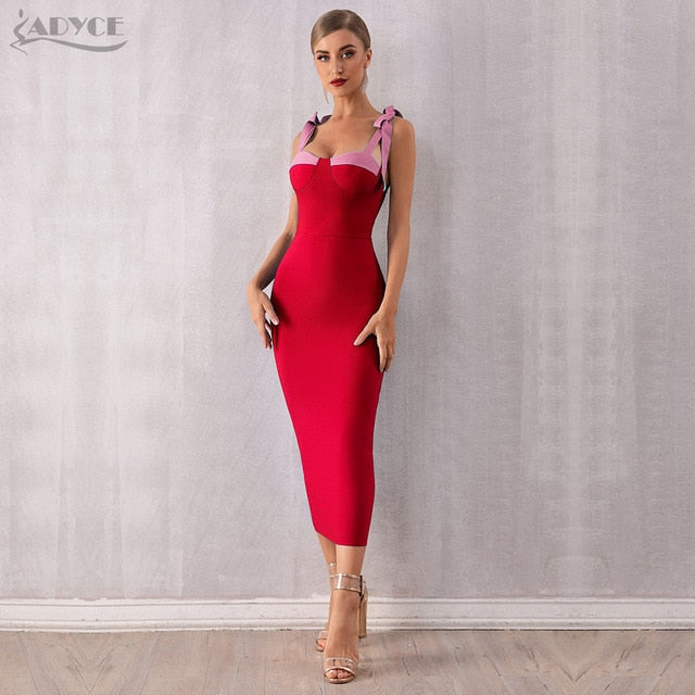 ADYCE 2020 New Summer Women Bodycon Bandage Dress Sexy Spaghetti Strap Maxi Bow Blue Club Dress Celebrity Runway Dresses Vestido