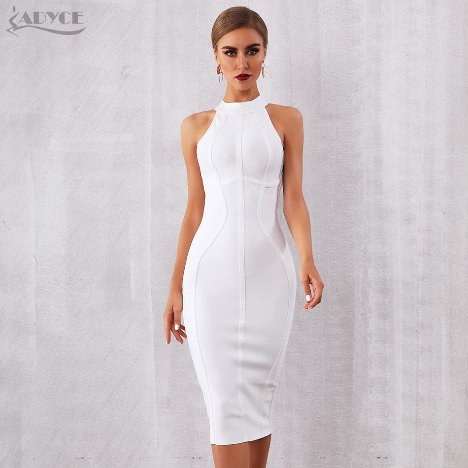 ADYCE 2020 New Summer White Women Bodycon Bandage Dress Vestidos Elegant Tank Sexy Sleeveless Club Celebrity Runway Party Dress