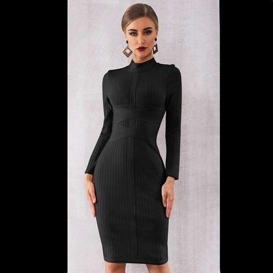 Adyce 2020 New Spring Bodycon Bandage Dress Women Sexy Nude Long Sleeve Midi Club Dress Vestidos Celebrity Evening Party Dresses