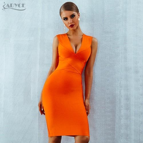 ADYCE Summer Women Bandage Dress Vestidos 2020 Red Orange Tank Sexy Deep V-Neck Sleeveless Bodycon Celebrity Runway Party Dress