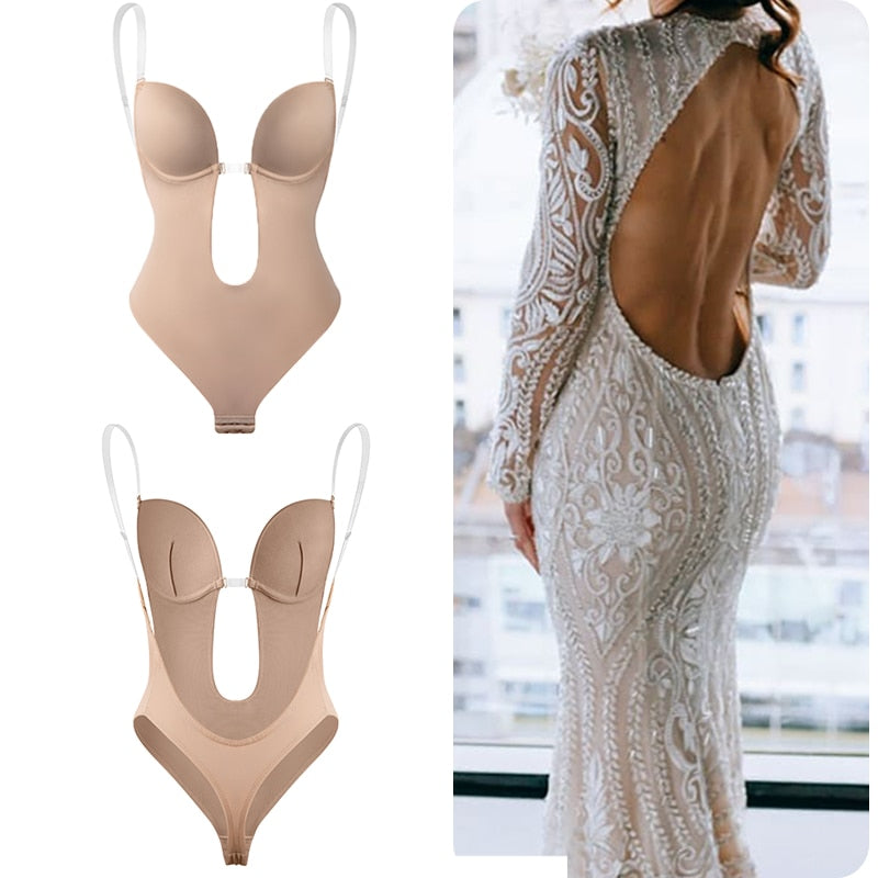 Bodysuit Shapewear Deep V-Neck Body Shaper Backless U Plunge Thong Shapers Waist Trainer Women Clear Strap Padded Push Up Corset