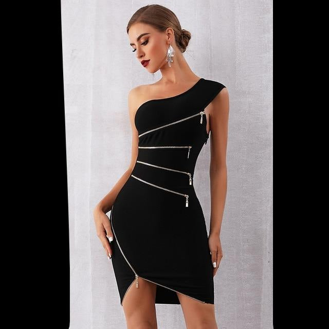 ADYCE 2020 New Summer Women Bandage Dress Sexy One Shoulder Zipper Black Clubwear Dress Vestidos Celebrity Evening Party Dresses