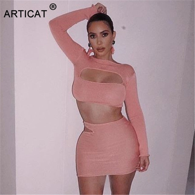 Articat Kardashian Same Style Two Piece Dress Women Long Sleeve Hollow Out Bodycon Sexy Mini Dress Club Party Clothing Vestidos