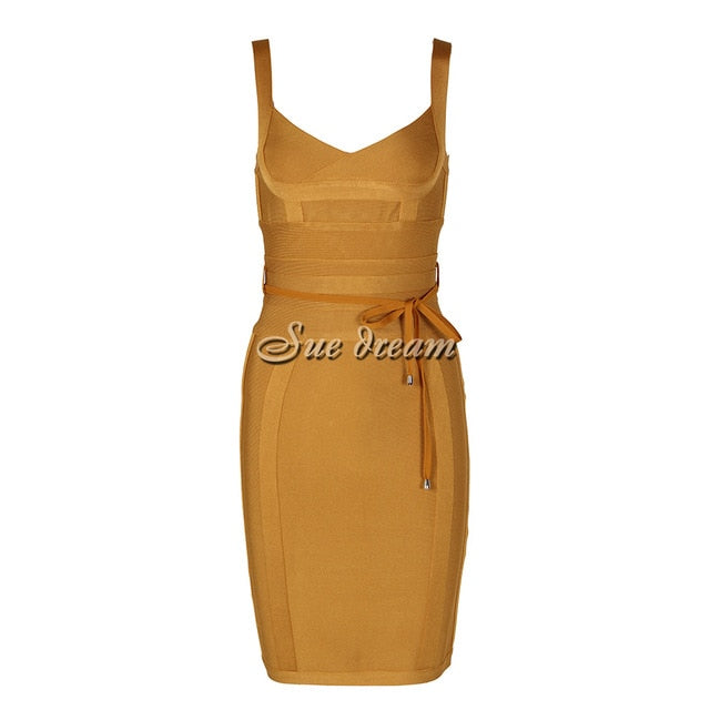 2020 Autumn New Women Sleeveless V Neck Bandage Dress Sexy Bodycon Sashes Backless Celebrity Party Red Yellow Dresses Vestidos