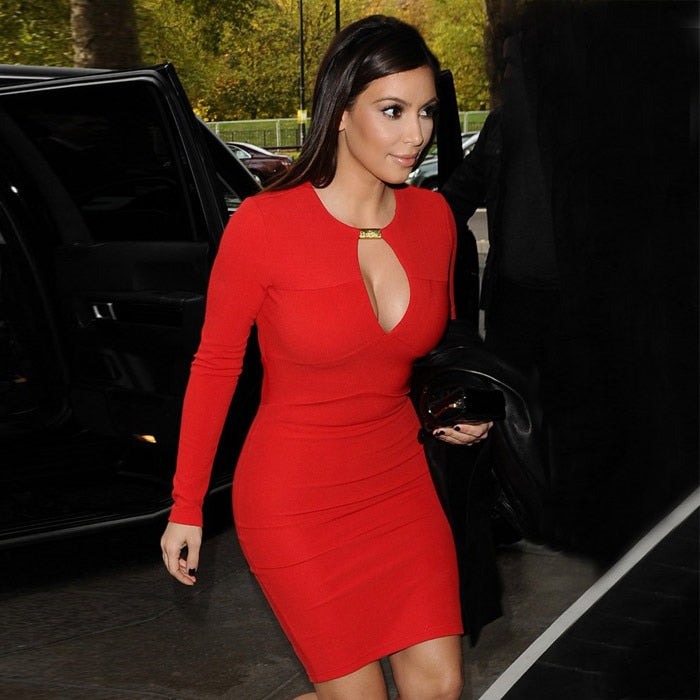 Black and Red Colour 2014 New  Ladies Long Sleeve Hollow Out Sexy Mini Dress HL Bandage Dress Kim Kardashian  Dress