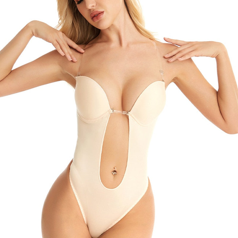 Sexy Full Bodyshaper Bra Women Deep V Convertible Bra Thong Shapewear Backless Invisible Push Up Underwear Slimming Bodysuit