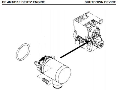 DEUTZ BF4M1011F Fuel shut off solenoid 04272733 Bobcat skid steer loader 863/873