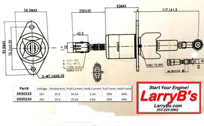 "Fuel shutdown Solenoid, 3"" spacing, 3 round pins, 3930233, SA-4335-12 12volt LarryB's"