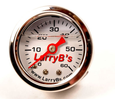 "LarryB's White 0-60 PSI Liquid-Filled Oil / Universal Pressure Gauge, 1/8"" NPT"