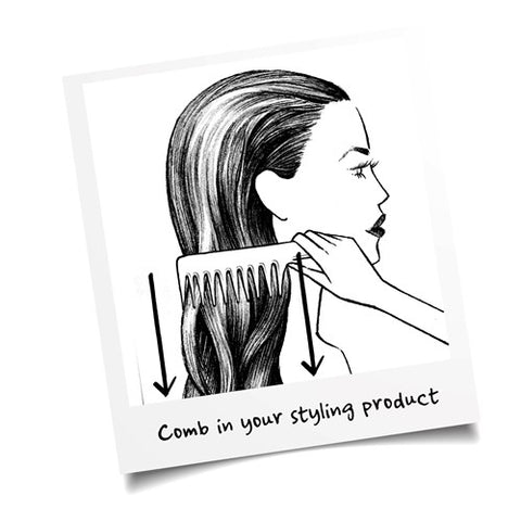 girl combing styling product through hair