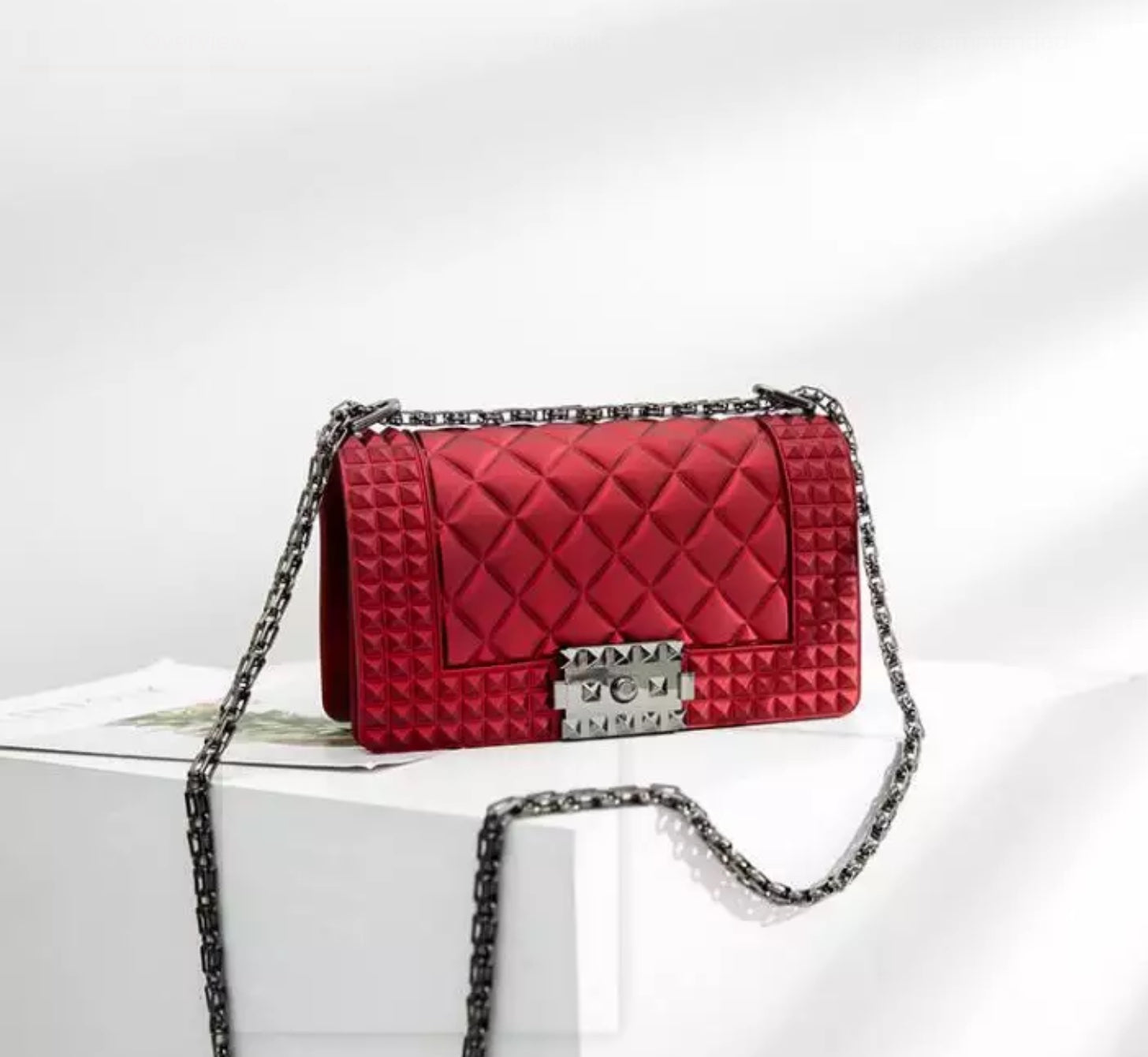Quilted Jelly Clutch Purse (Red)