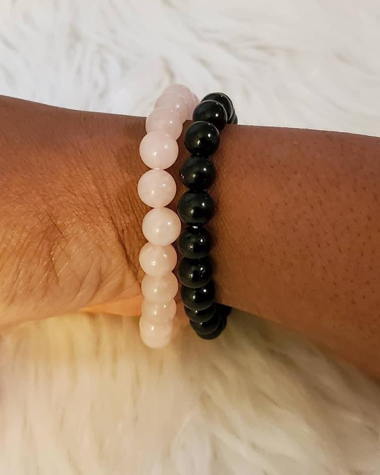 Gemstone Mala Beaded Bracelet (Lava Rock)