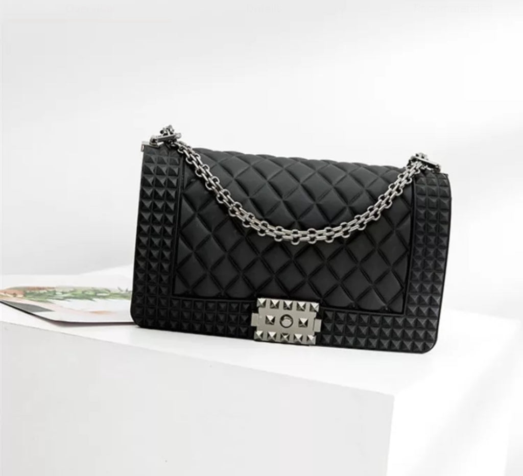 Quilted Jelly Clutch Purse (Black)