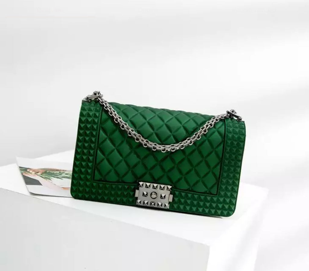 Quilted Jelly Clutch Purse (Green)