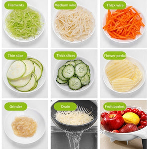 Multifunctional Vegetable Shredder Chopper and Strainer Bowl