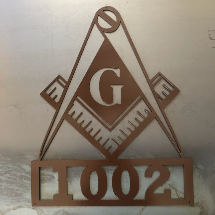 Masonic Lodge Square and Compass Address Numbers - Woodpost Metalworks
