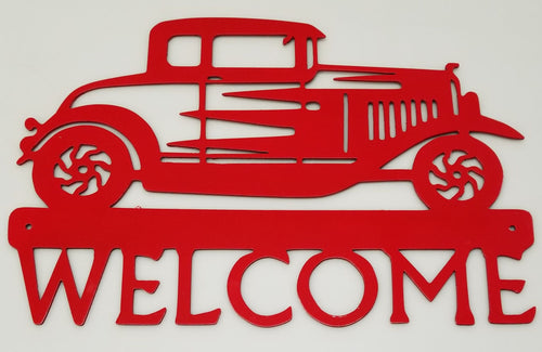 Hot Rod Welcome Sign - Woodpost Metalworks