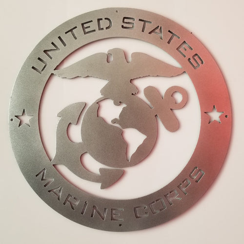 Marine Corps Crest Metal Sign With Or Without LED Backlighting - Woodpost Metalworks