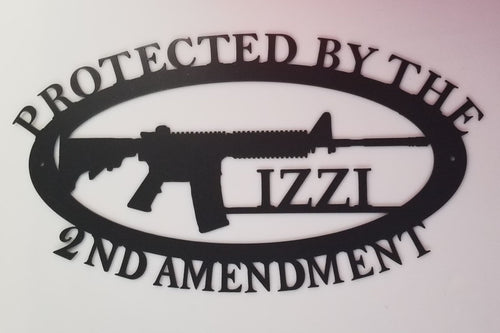 Protected By The 2nd Amendment Rifle with Last Name Option - Woodpost Metalworks