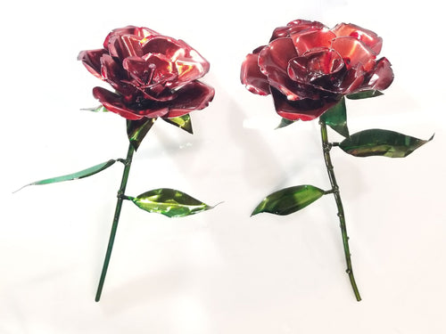Single Metal Rose - Woodpost Metalworks