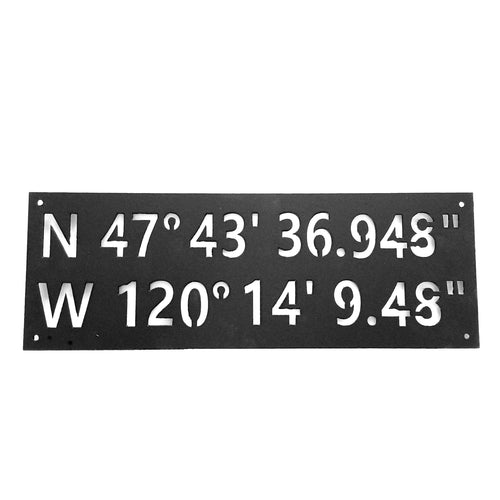 Custom GPS Coordinates Latitude Longitude Nautical Degrees Custom - Woodpost Metalworks