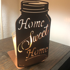 Mason Jar Candle Holder Home Sweet Home Two Sizes Available