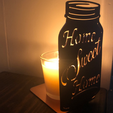Load image into Gallery viewer, Mason Jar Candle Holder Home Sweet Home Two Sizes Available