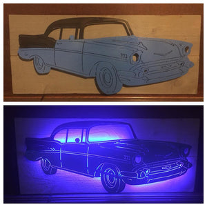 1957 Chevy BelAir LED Sign - Woodpost Metalworks