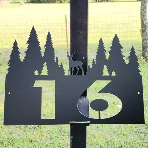 Deer and Tree Address Sign