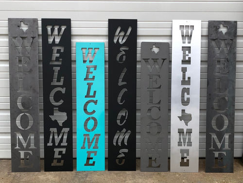 Rectangle Welcome Sign - Woodpost Metalworks