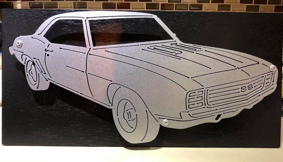 Chevy Camaro Sign with LEDs - Woodpost Metalworks