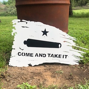Tattered Come and Take It Flag - Woodpost Metalworks