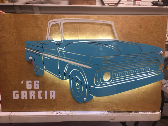 1965 - 68 Chevrolette C10 Truck Metal Sign With Or Without LEDs